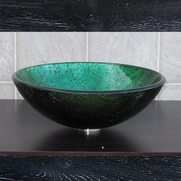 EliteMax 9049 Bathroom Artistic Round Glass Vessel Sink