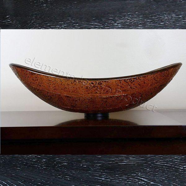 EliteMax B6681 Bathroom Artistic Oval Glass Vessel Sink