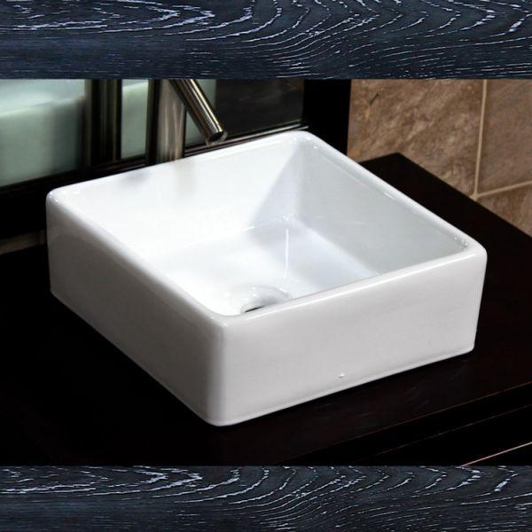 EliteMax CV7098 Bathroom Square Ceramic Vessel Sink