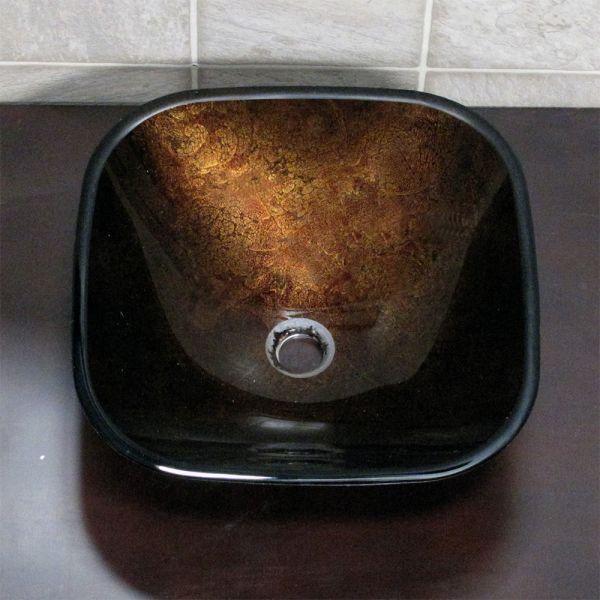 EliteMax S9052 Bathroom Artistic Square Glass Vessel Sink